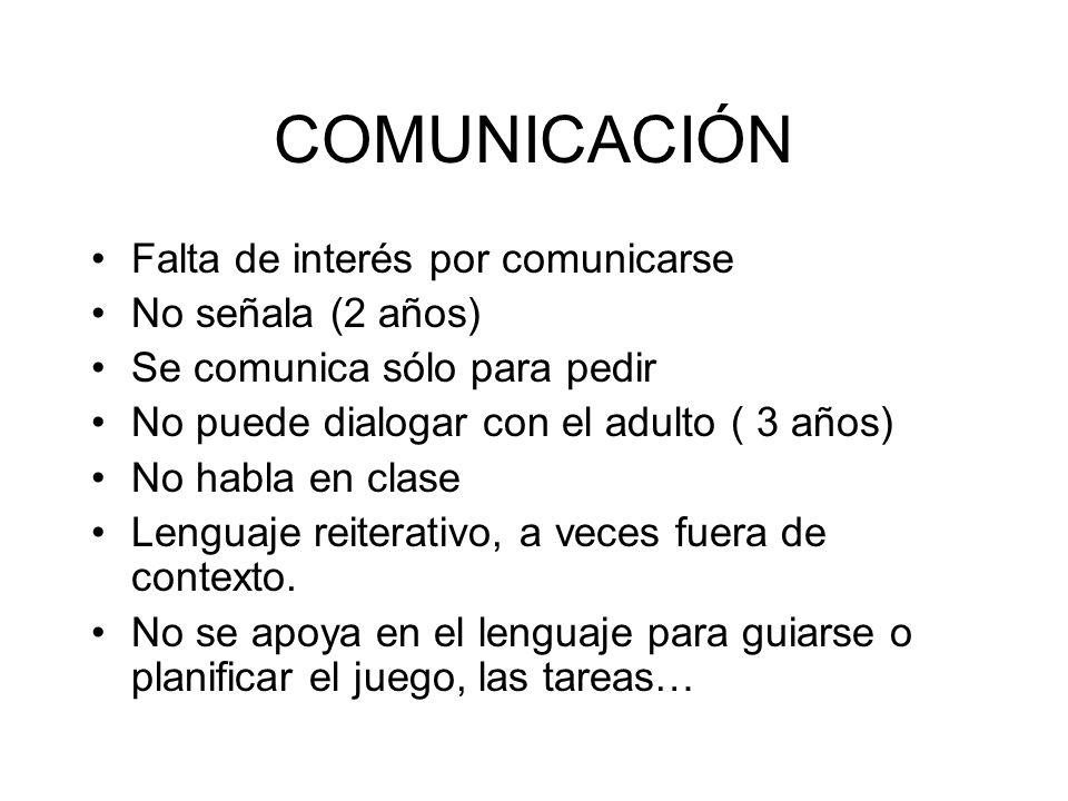 COMUNICACIÓN Falta de interés por comunicarse No señala (2 años)