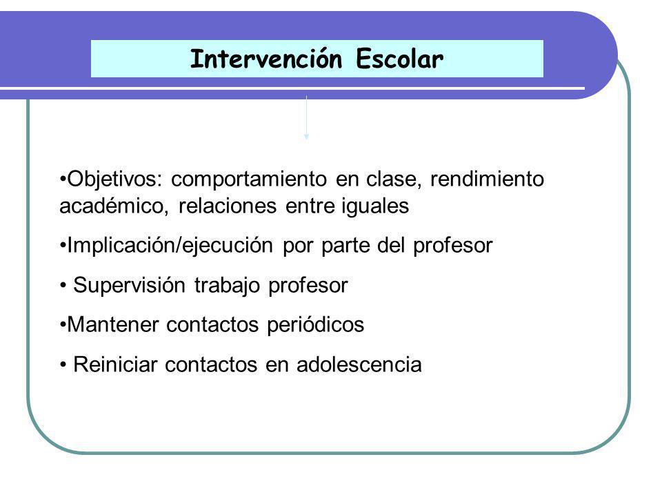 Intervención Escolar Objetivos: comportamiento en clase, rendimiento académico, relaciones entre iguales.