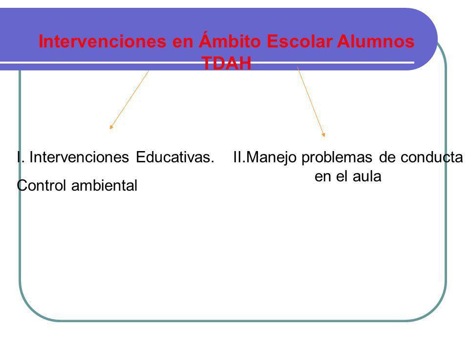 Intervenciones en Ámbito Escolar Alumnos TDAH