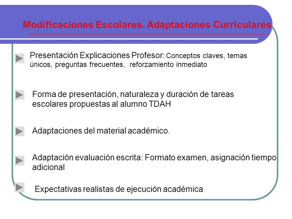 Modificaciones Escolares. Adaptaciones Curriculares