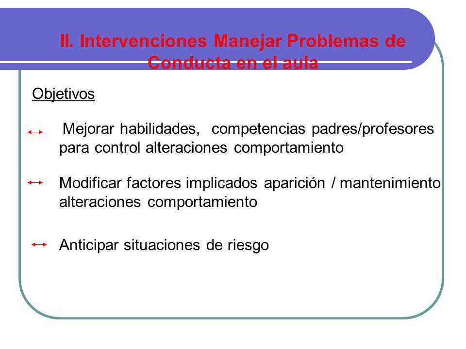 II. Intervenciones Manejar Problemas de Conducta en el aula