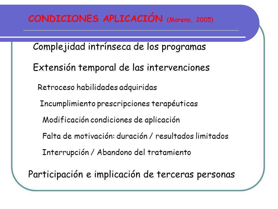 CONDICIONES APLICACIÓN (Moreno, 2005)