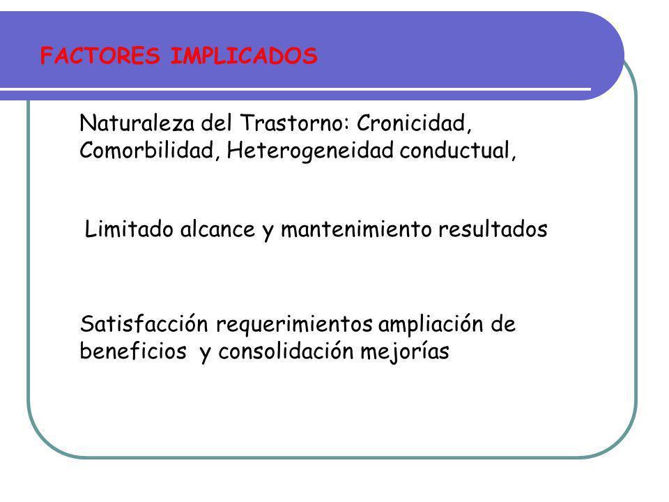 FACTORES IMPLICADOS Naturaleza del Trastorno: Cronicidad, Comorbilidad, Heterogeneidad conductual, Limitado alcance y mantenimiento resultados.