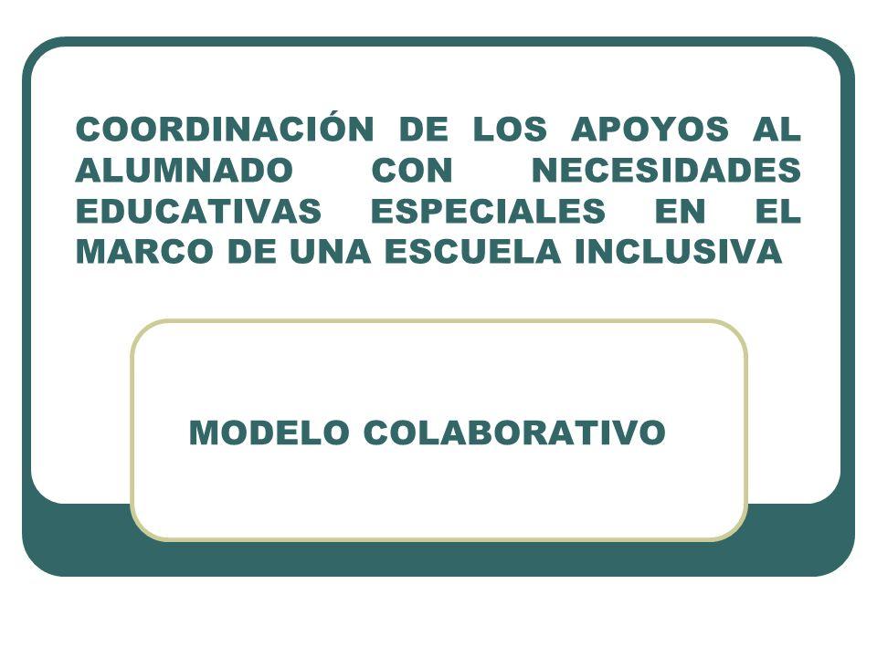 COORDINACIÓN DE LOS APOYOS AL ALUMNADO CON NECESIDADES EDUCATIVAS ESPECIALES EN EL MARCO DE UNA ESCUELA INCLUSIVA