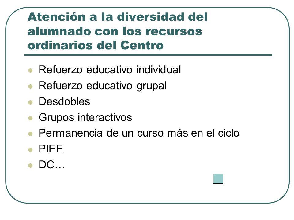 Atención a la diversidad del alumnado con los recursos ordinarios del Centro