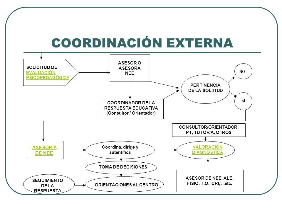 COORDINACIÓN EXTERNA ASESOR/A DE NEE ASESOR O ASESORA NEE