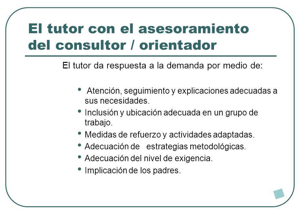 El tutor con el asesoramiento del consultor / orientador