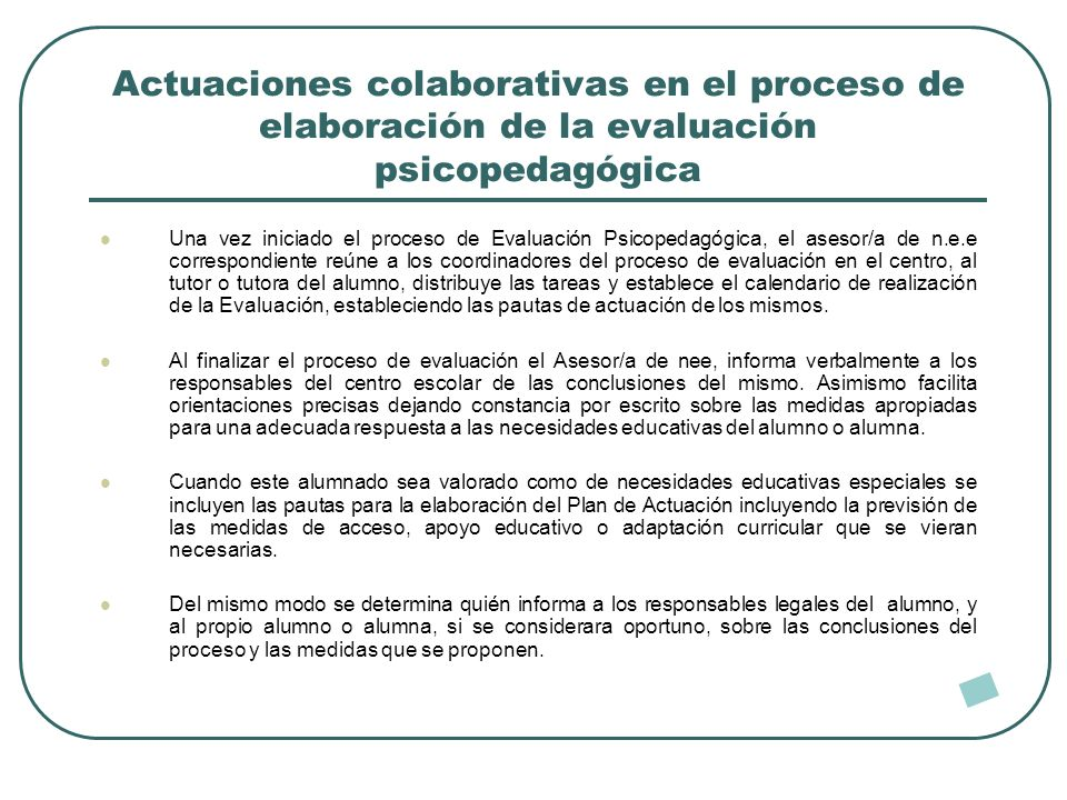 Actuaciones colaborativas en el proceso de elaboración de la evaluación psicopedagógica