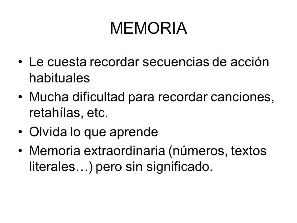 MEMORIA Le cuesta recordar secuencias de acción habituales