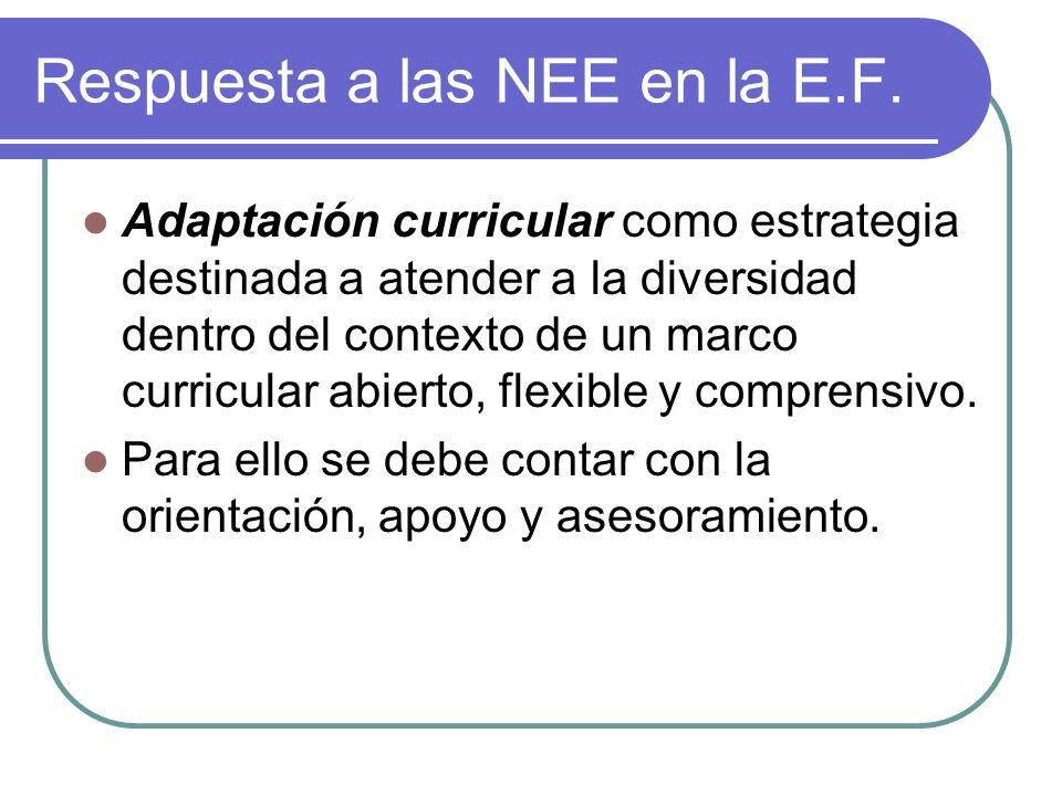 Respuesta a las NEE en la E.F.