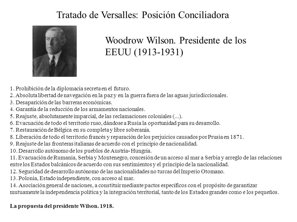 Tratado de Versalles: Posición Conciliadora
