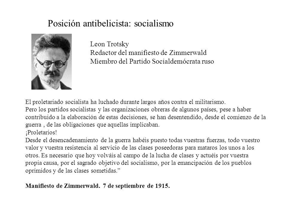 Posición antibelicista: socialismo