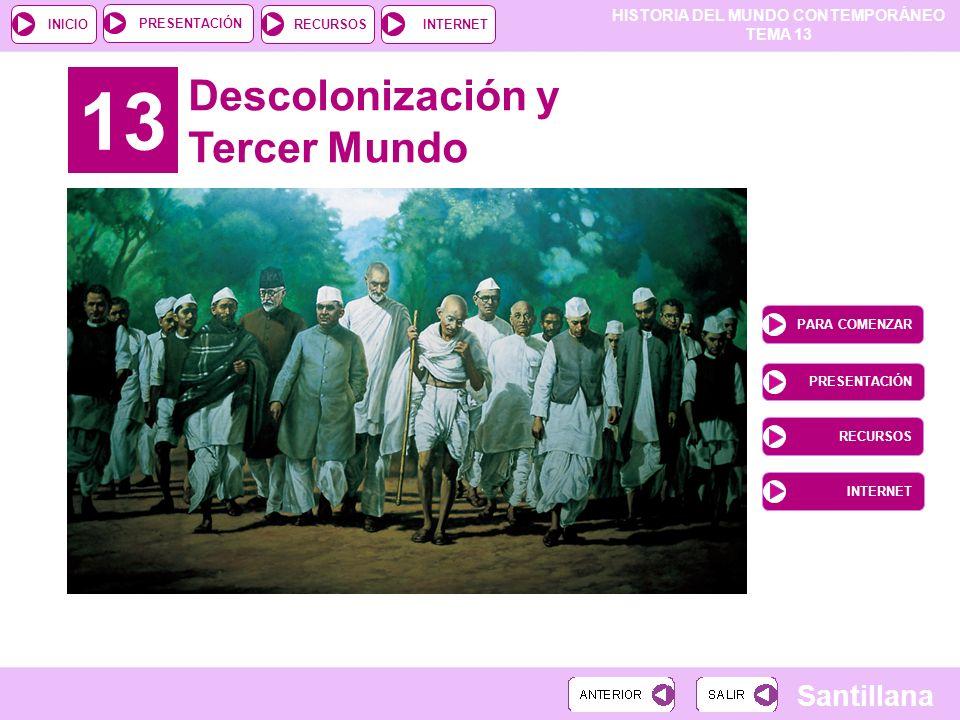 13 Descolonización y Tercer Mundo PARA COMENZAR PRESENTACIÓN RECURSOS