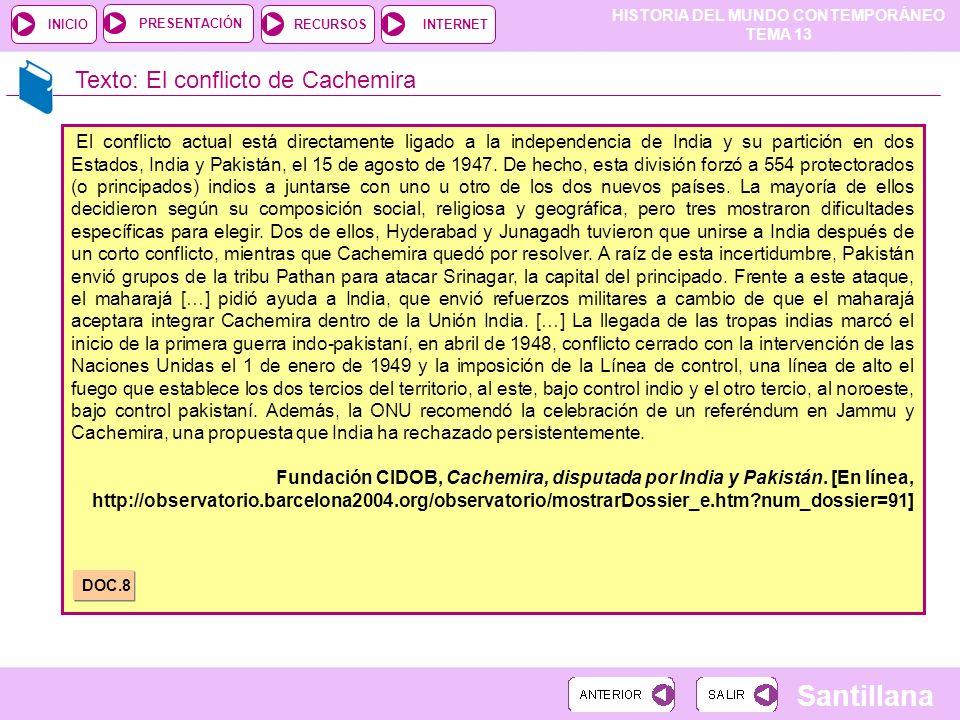 Texto: El conflicto de Cachemira