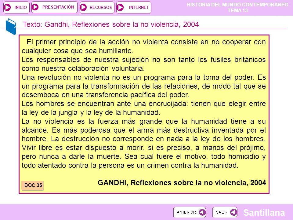 Texto: Gandhi, Reflexiones sobre la no violencia, 2004