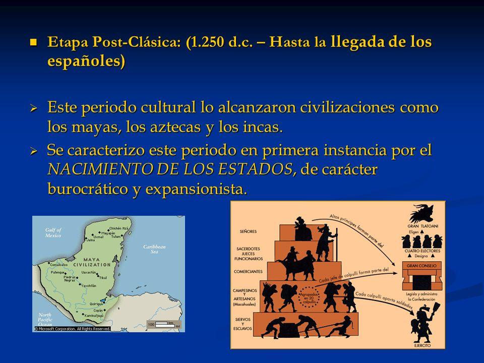 Etapa Post-Clásica: (1.250 d.c. – Hasta la llegada de los españoles)
