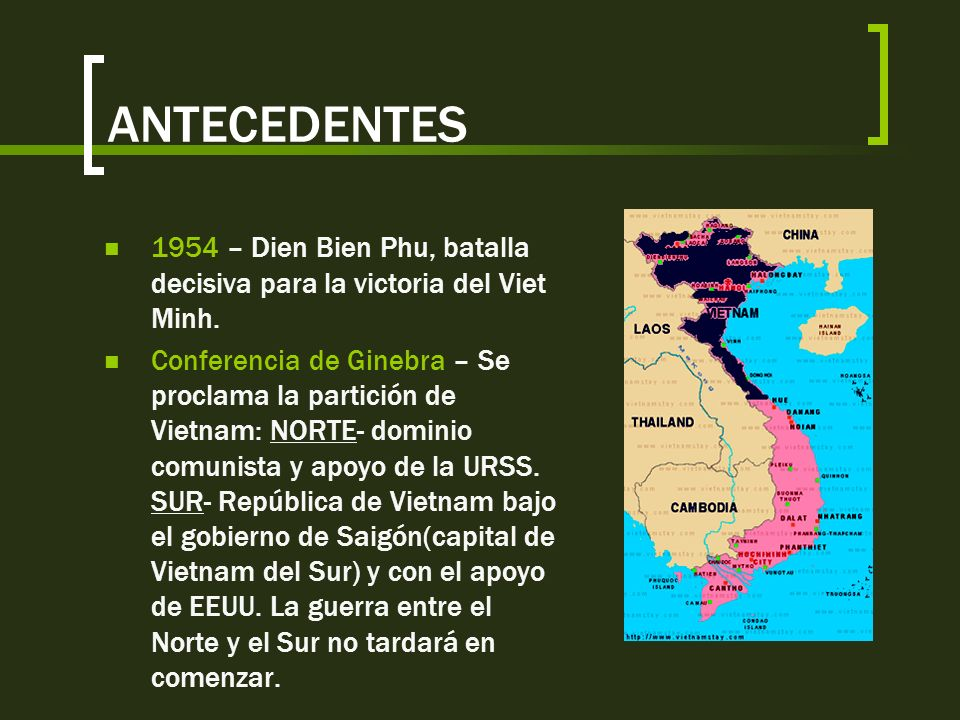 ANTECEDENTES 1954 – Dien Bien Phu, batalla decisiva para la victoria del Viet Minh.