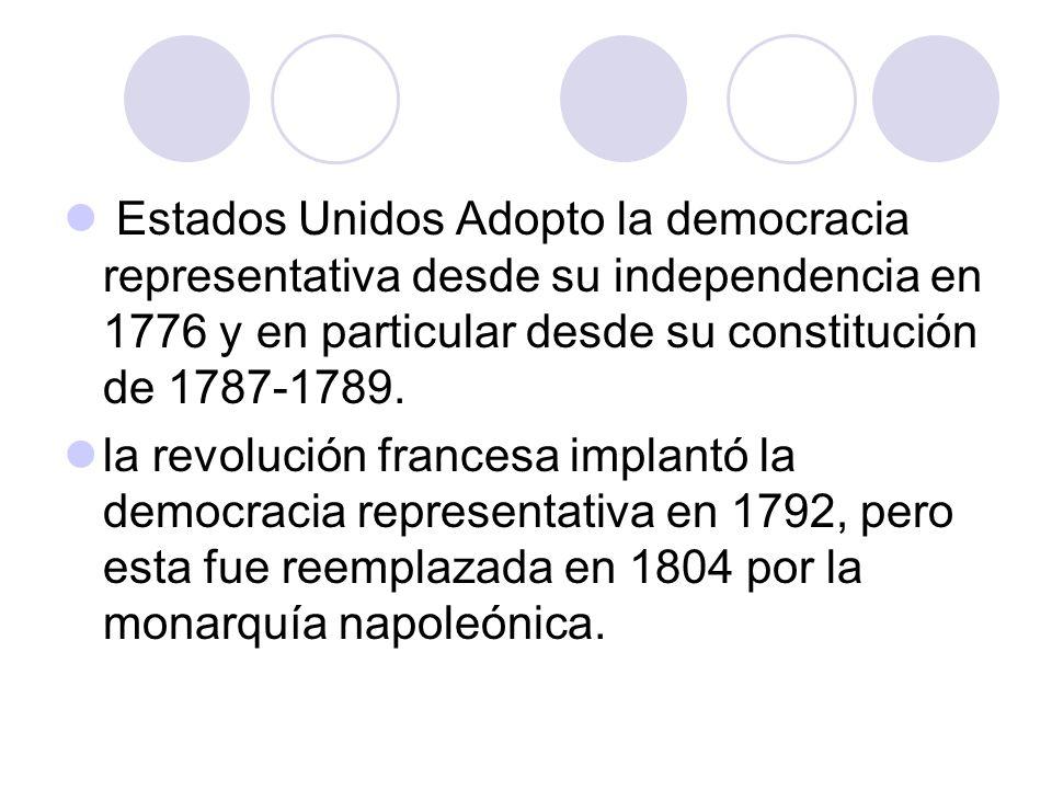 Estados Unidos Adopto la democracia representativa desde su independencia en 1776 y en particular desde su constitución de 1787-1789.