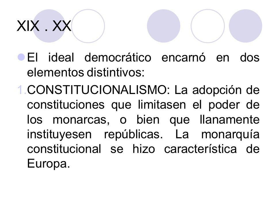 XIX . XX El ideal democrático encarnó en dos elementos distintivos: