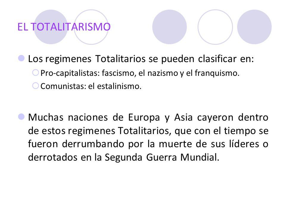 EL TOTALITARISMO Los regimenes Totalitarios se pueden clasificar en: