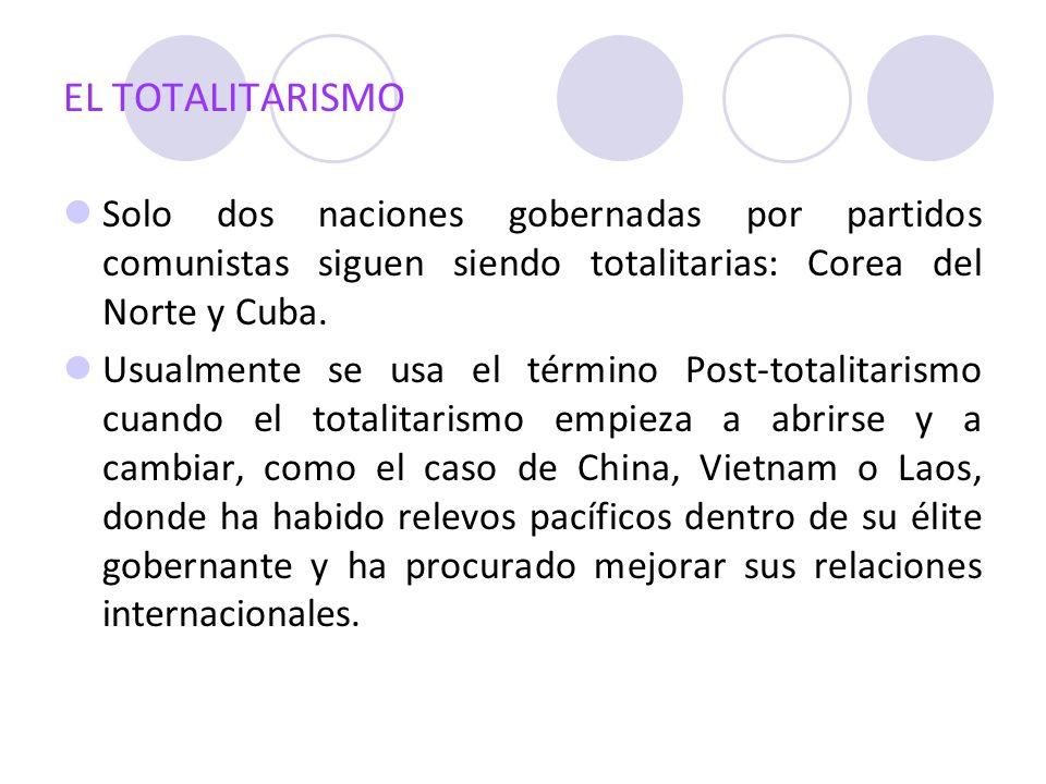 EL TOTALITARISMO Solo dos naciones gobernadas por partidos comunistas siguen siendo totalitarias: Corea del Norte y Cuba.