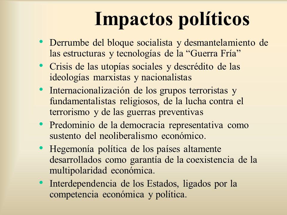 Impactos políticos Derrumbe del bloque socialista y desmantelamiento de las estructuras y tecnologías de la Guerra Fría