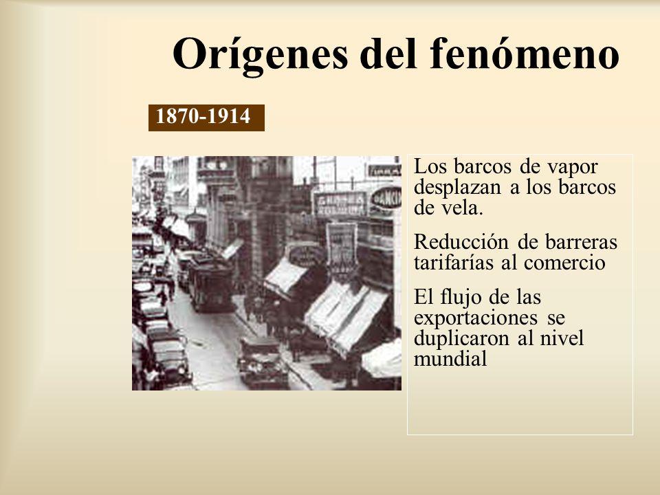 Orígenes del fenómeno 1870-1914. Los barcos de vapor desplazan a los barcos de vela. Reducción de barreras tarifarías al comercio.