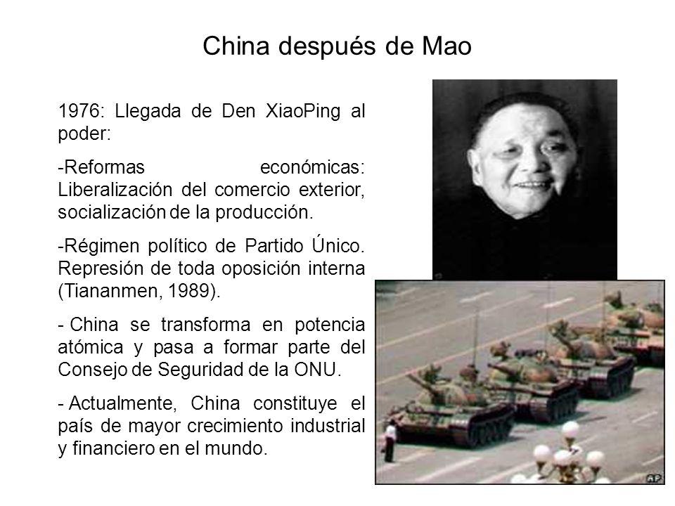 China después de Mao 1976: Llegada de Den XiaoPing al poder: