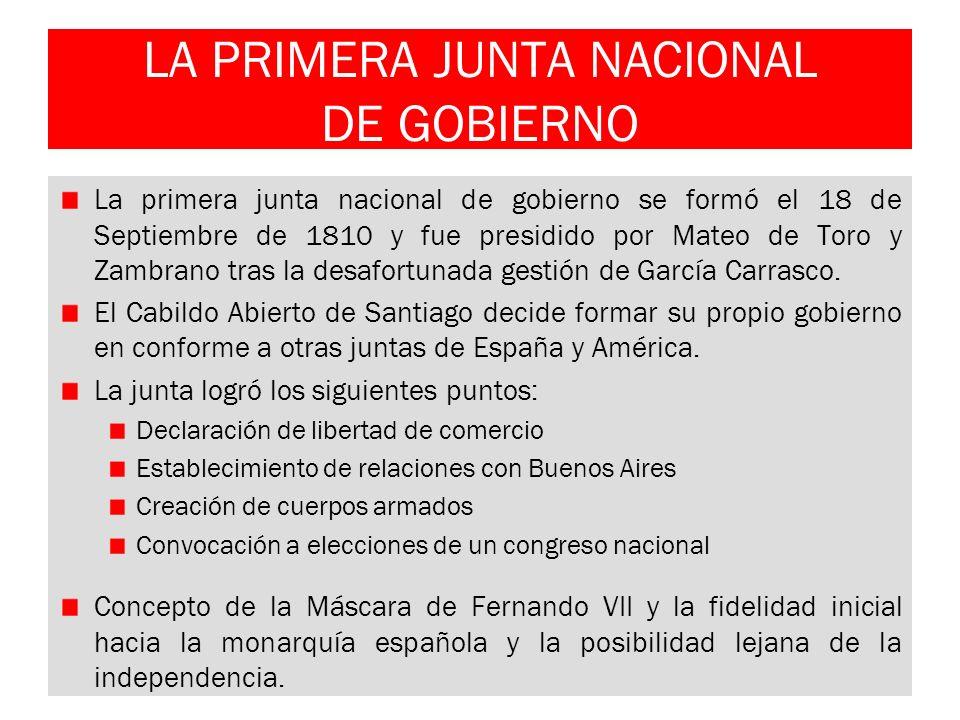 LA PRIMERA JUNTA NACIONAL DE GOBIERNO
