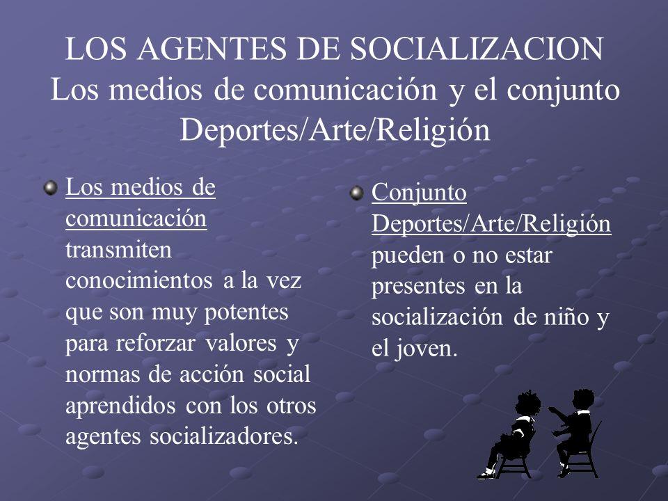 LOS AGENTES DE SOCIALIZACION Los medios de comunicación y el conjunto Deportes/Arte/Religión