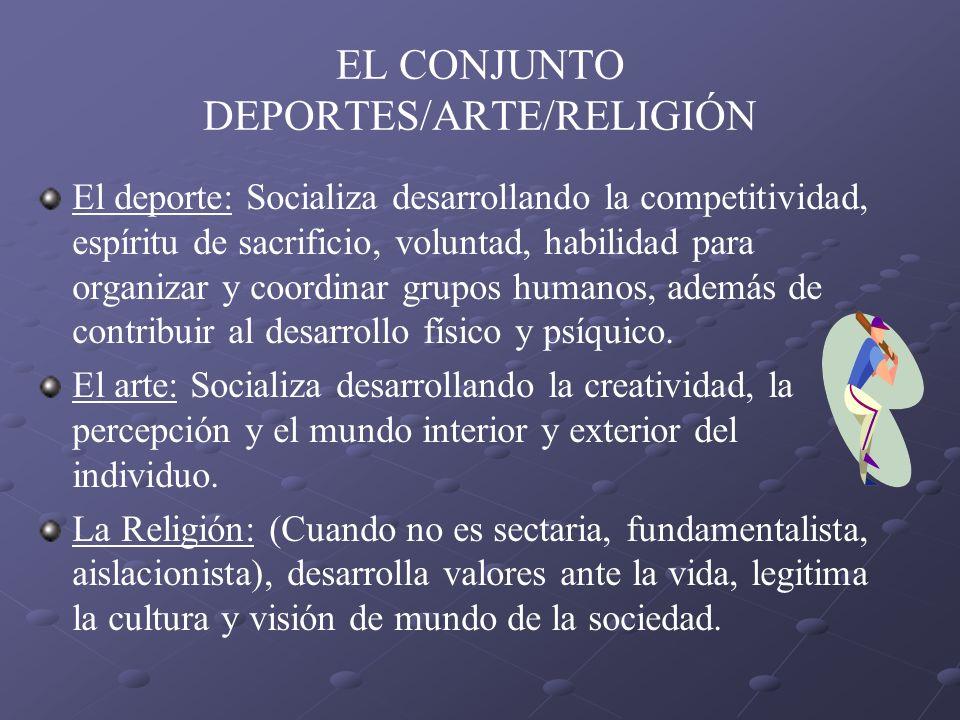 EL CONJUNTO DEPORTES/ARTE/RELIGIÓN