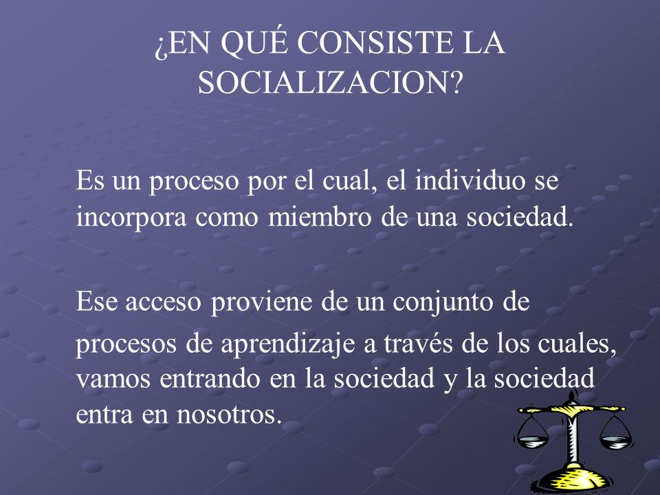 ¿EN QUÉ CONSISTE LA SOCIALIZACION