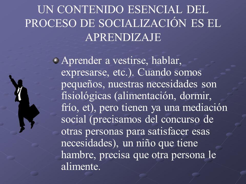 UN CONTENIDO ESENCIAL DEL PROCESO DE SOCIALIZACIÓN ES EL APRENDIZAJE