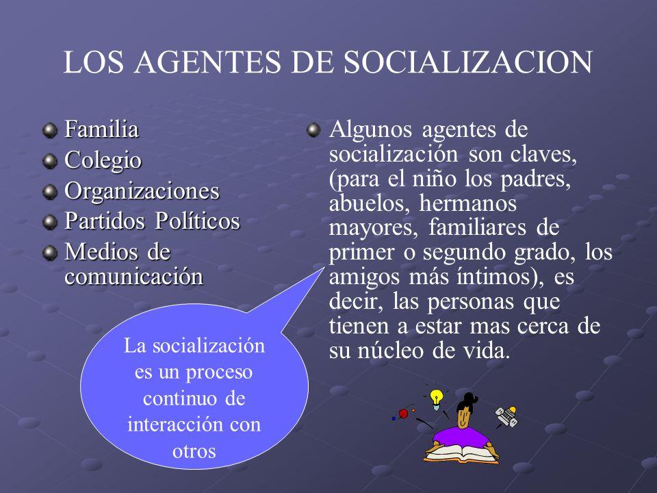 LOS AGENTES DE SOCIALIZACION