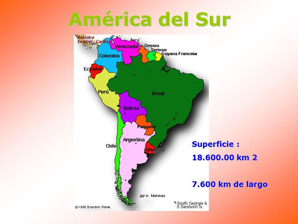 América del Sur Superficie : 18.600.00 km 2 7.600 km de largo