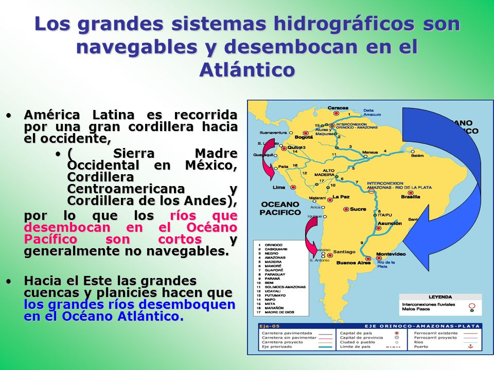 Los grandes sistemas hidrográficos son navegables y desembocan en el Atlántico