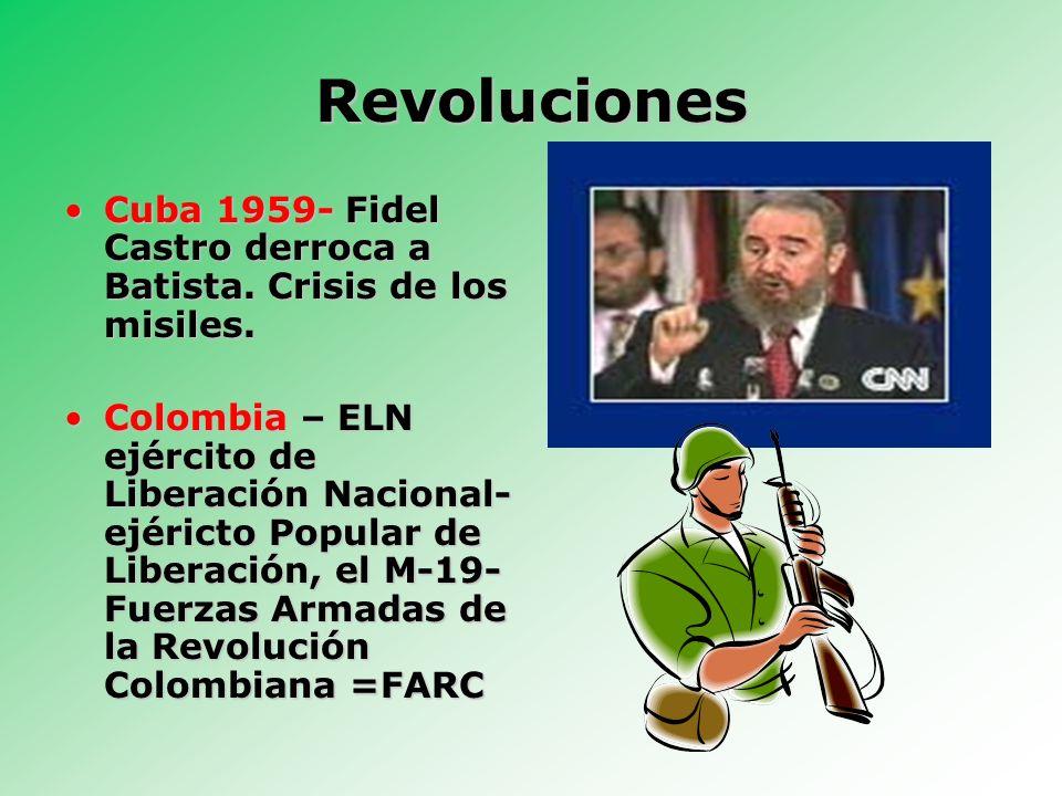 RevolucionesCuba 1959- Fidel Castro derroca a Batista. Crisis de los misiles.