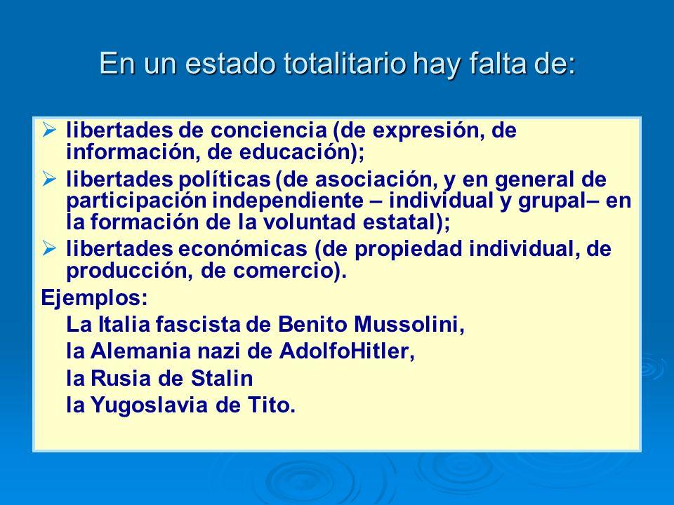 En un estado totalitario hay falta de: