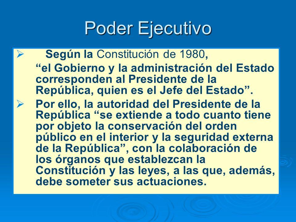Poder Ejecutivo Según la Constitución de 1980,