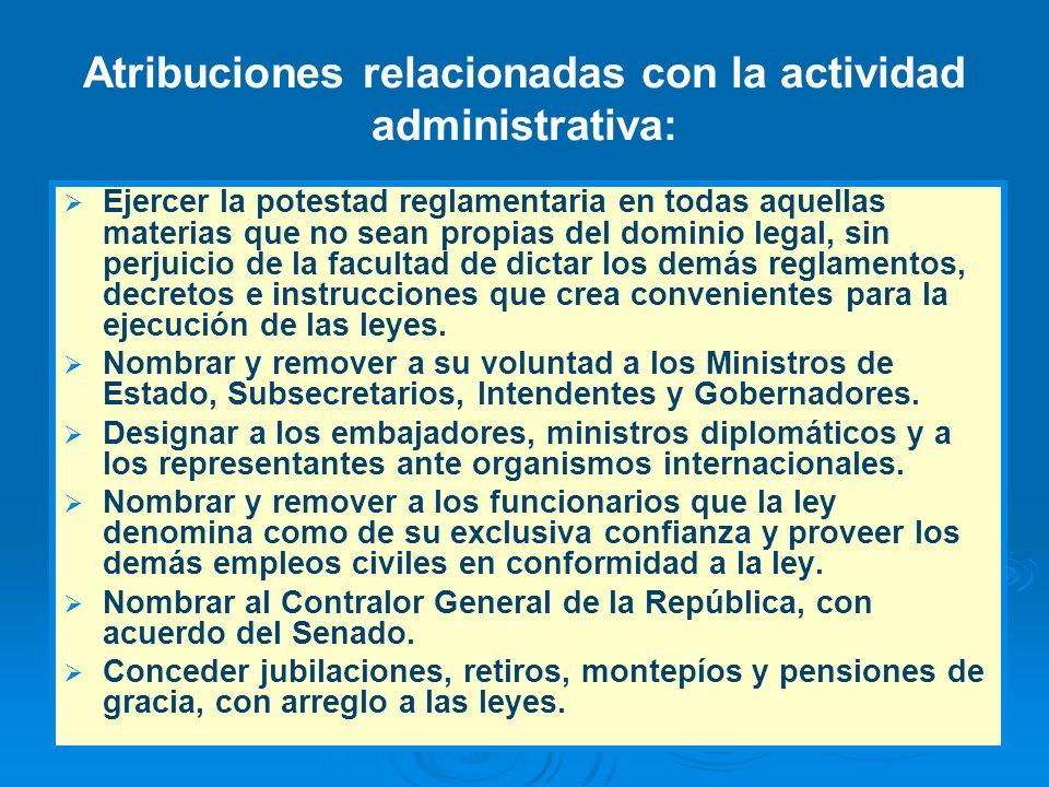 Atribuciones relacionadas con la actividad administrativa: