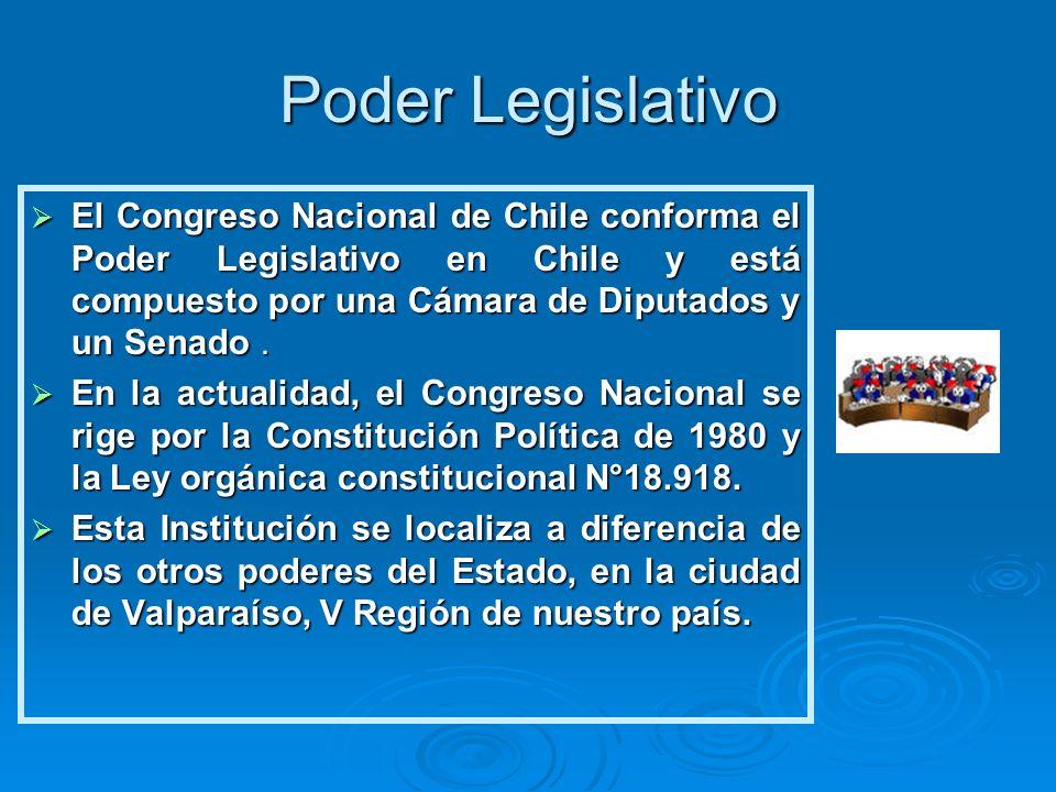 Poder Legislativo El Congreso Nacional de Chile conforma el Poder Legislativo en Chile y está compuesto por una Cámara de Diputados y un Senado .