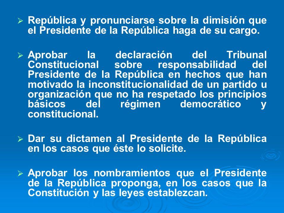 República y pronunciarse sobre la dimisión que el Presidente de la República haga de su cargo.