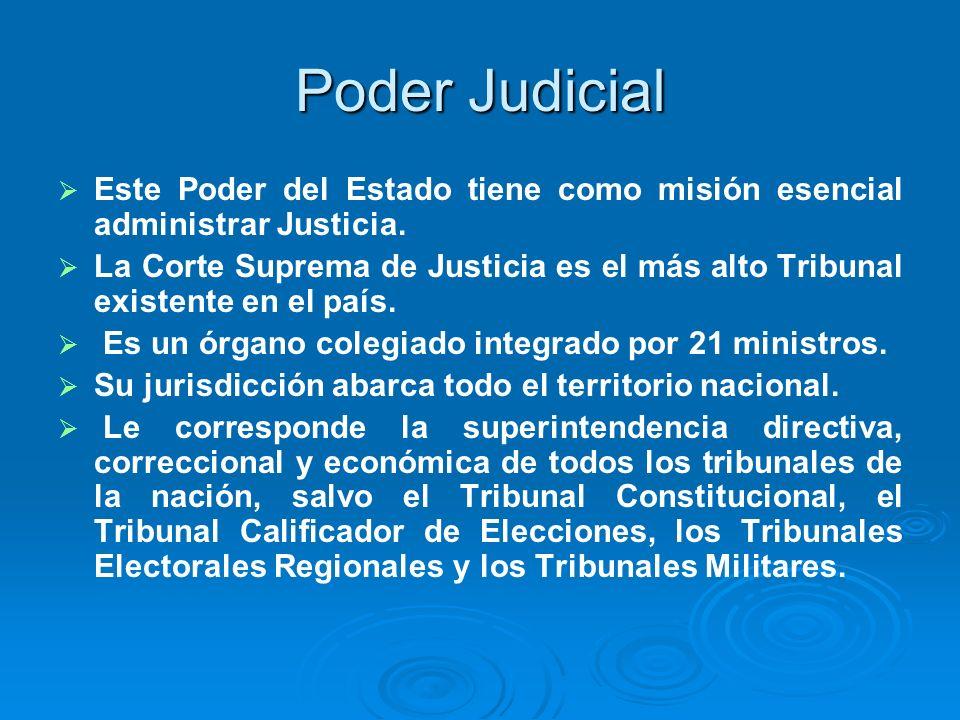 Poder JudicialEste Poder del Estado tiene como misión esencial administrar Justicia.