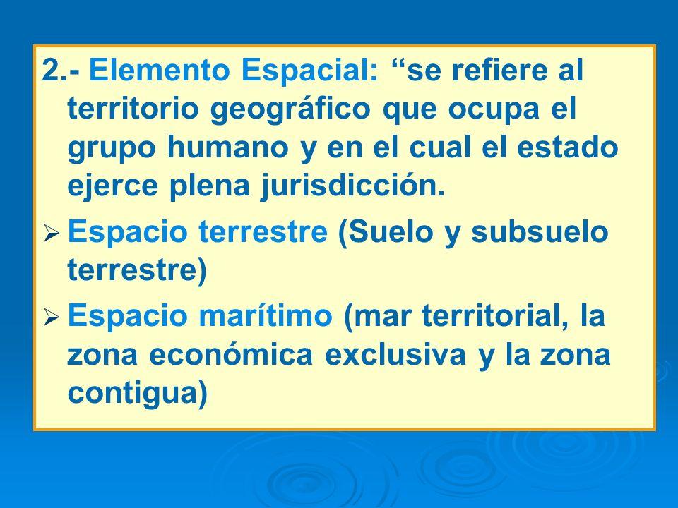 2.- Elemento Espacial: se refiere al territorio geográfico que ocupa el grupo humano y en el cual el estado ejerce plena jurisdicción.