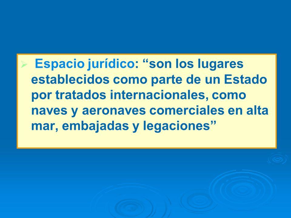 Espacio jurídico: son los lugares establecidos como parte de un Estado por tratados internacionales, como naves y aeronaves comerciales en alta mar, embajadas y legaciones