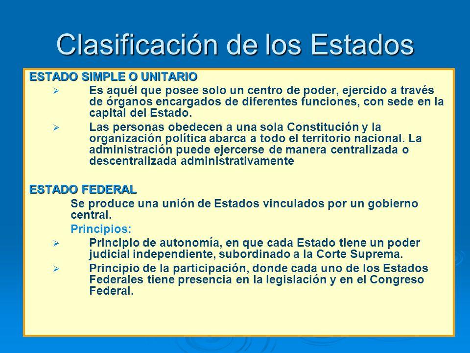 Clasificación de los Estados