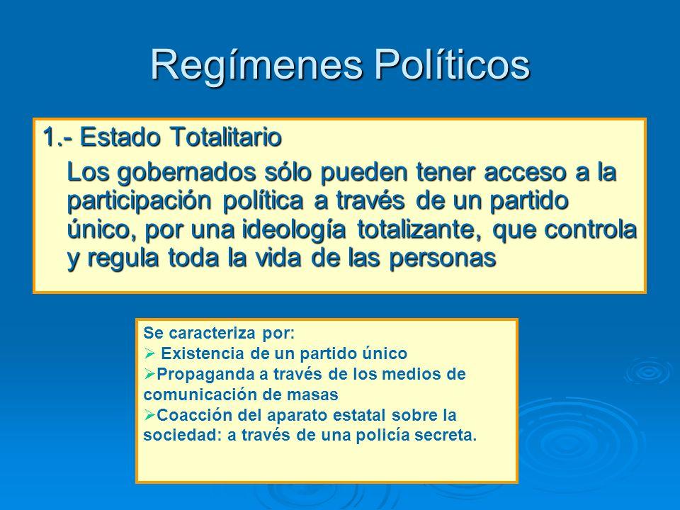 Regímenes Políticos 1.- Estado Totalitario
