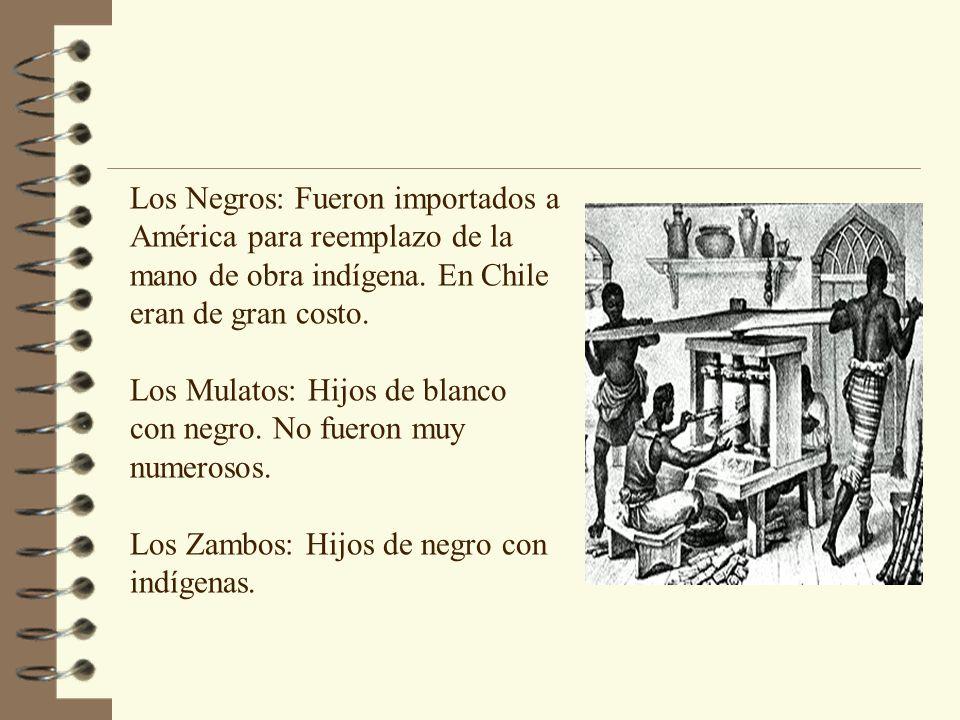 Los Negros: Fueron importados a América para reemplazo de la mano de obra indígena. En Chile eran de gran costo.