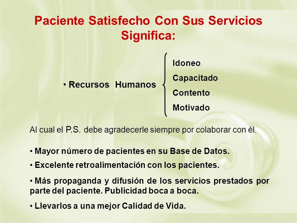 Paciente Satisfecho Con Sus Servicios Significa: