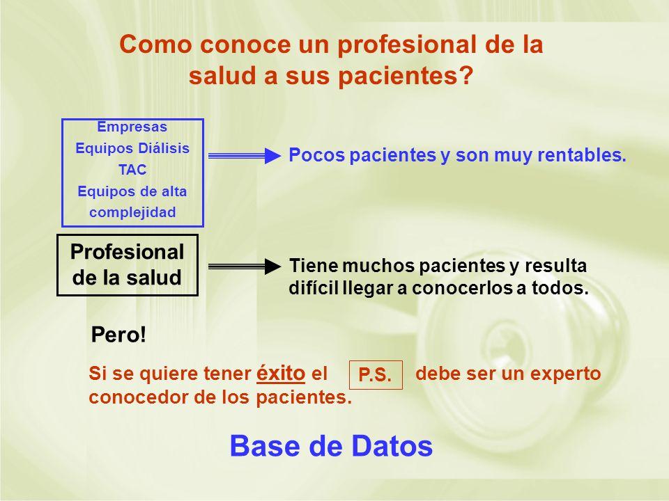 Base de Datos Como conoce un profesional de la salud a sus pacientes